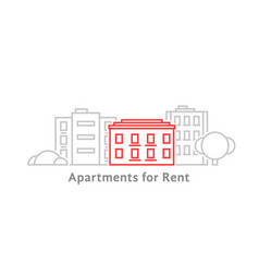 thin line apartments for rent vector image vector image