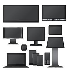 black screen mockup set realistic style vector image