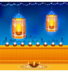 Hanging kandil in Diwali night vector image vector image