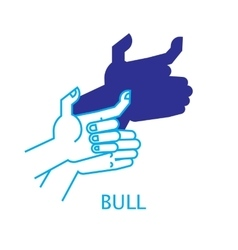 Shadow Hand Puppet Bull vector image vector image