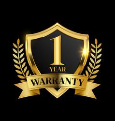 1 year warranty golden shield vector