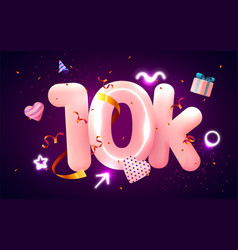 10k or 10000 followers thank you pink heart vector image