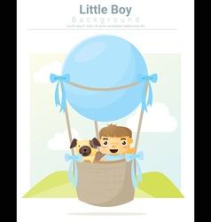 A little boy and his dog riding a hot air balloon vector image