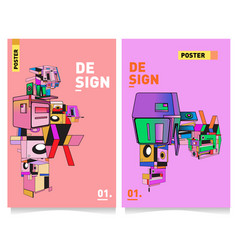 Abstract 3d colorful collage poster and cover vector