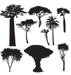 African tree silhouettes vector