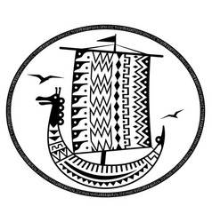 an ancient scandinavian image of a viking ship vector image