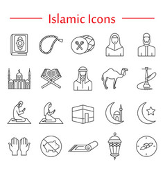 Arabic national outline icons set vector
