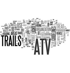 Atv trails text word cloud concept vector