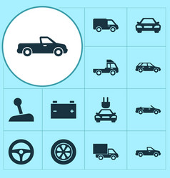 Automobile icons set collection of van truck vector