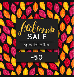 Autumn sale discount in fall special offer vector