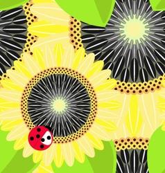Big sunflowers and ladybug seamless background vector image