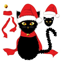 Black Cat Christmas Day vector
