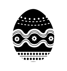 Black contour egg easter decoration design vector
