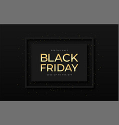 Black friday sale banner shiny golden text in vector