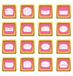 Burger icons pink vector