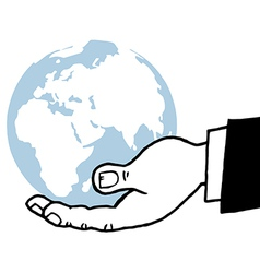 Businessman holding world cartoon vector