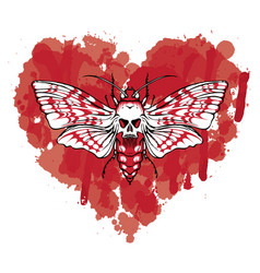 Butterfly dead head on abstract red heart vector