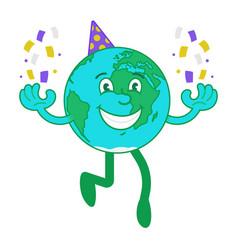 Cartoon character happy earth vector