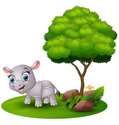 cartoon rhino under a tree on a white background vector image