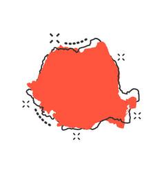 cartoon romania map icon in comic style romania vector image