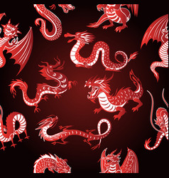 Chinese asia red dragon animal silhouettes on vector