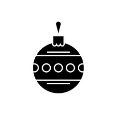 christmas ball with ornament black icon vector image
