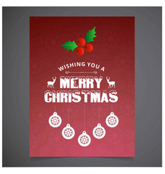 christmas card with red background snow flakes vector image