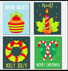 christmas new year holidays greeting cards vector image