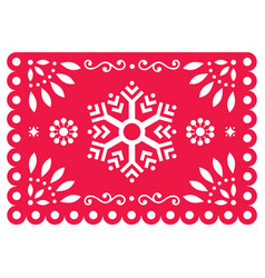 Christmas papel picado design- snowflake vector