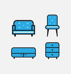 collection of office furniture and interior vector image