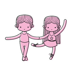 Color couple practice ballet with professional vector