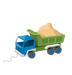 Colorful dump truck toy with sand vector image