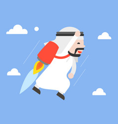 cute arab businessman flying in sky with jetpack vector image
