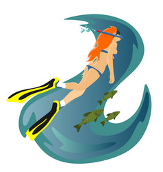 Diving snorkelling water extreme sports isolated vector