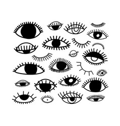 eyes icon set in doodle line style vector image