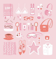 Fashion girl clothing and accessories vector