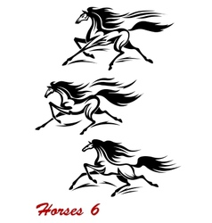 Fast galloping horses and mustangs vector