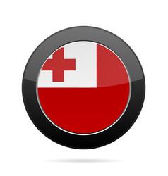 flag of tonga shiny black round button vector image