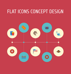 Flat icons snack bridge indian mascot and other vector