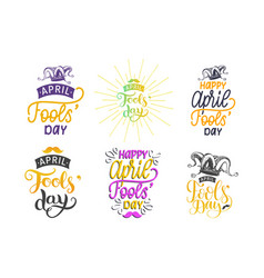 Fools day lettering set with jester hat drawing vector