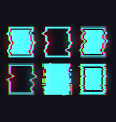 Frame in glitch style vector