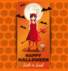 Halloween design with cute girl in a demon costume vector