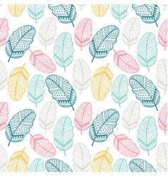 Hand drawn leaf seamless pattern vector