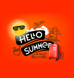 Hello summer concept with cute sun and red handbag vector