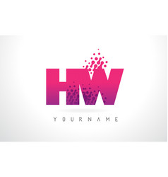 Hw h w letter logo with pink purple color and vector