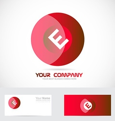 Letter e red circle logo vector image