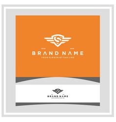 Letter s shield wing logo design concept vector
