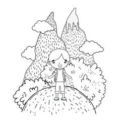 little tourist boy in landscape scene vector image