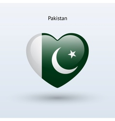 Love Pakistan symbol Heart flag icon vector image