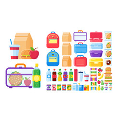 lunch box constructor food for lunchbox isolated vector image